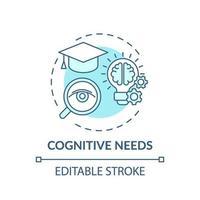 necesidades cognitivas icono concepto turquesa