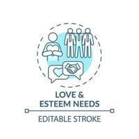 el amor y la estima necesita el icono del concepto turquesa vector
