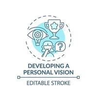 desarrollo de una visión personal icono de concepto turquesa vector