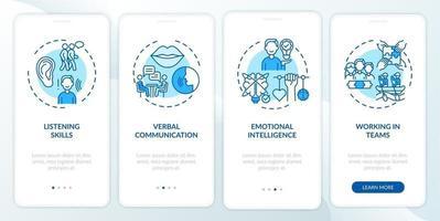 Categorías de autoevaluación de habilidades interpersonales Pantalla azul de la página de la aplicación móvil de incorporación con conceptos vector