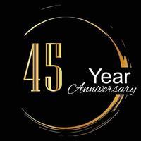 Ilustración de diseño de plantilla de vector de color de fondo negro dorado de celebración de aniversario de 45 años