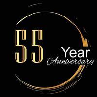 Ilustración de diseño de plantilla de vector de fondo de color negro dorado de celebración de aniversario de 55 años