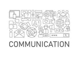 Diseño de concepto lineal abstracto de comunicación con título