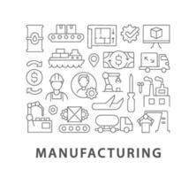 Diseño de concepto lineal abstracto de fabricación con título