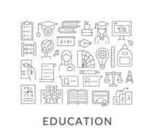 Diseño de concepto lineal abstracto de educación con título vector