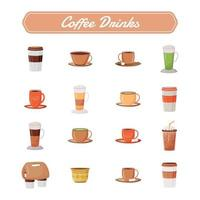 Coffee drinks flat color vector objects set.