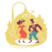 Summer retro party 2D vector web banner, poster