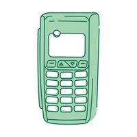NFC device, payment terminal green linear object vector