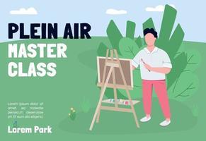 Plein air master class banner flat vector template