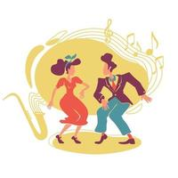 swing jazz party 2d vector web banner, cartel
