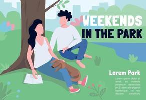 Weekends in park banner flat vector template