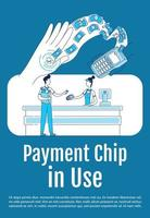 Payment chip in use poster flat silhouette vector template