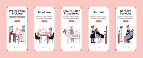 Beauty salon onboarding mobile app screen flat vector template set