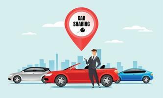 Ilustración de vector de color plano de coche compartido