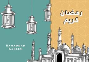 saludo de Ramadán Kareem con mezquita y linterna letras de caligrafía dibujadas a mano. La caligrafía árabe significa acebo ramadán. ilustración vectorial diseño vintage. vector