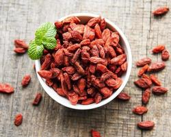 Dry red goji berries for a healthy diet photo