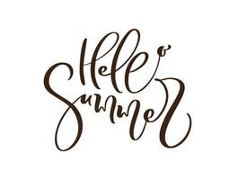 Calligraphy lettering brush text Hello Summer. Vector Hand Drawn Isolated phrase. Illustration doodle sketch isolated design for greeting card, print