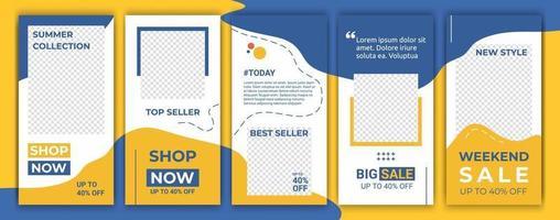 paquete de banners conjunto de historias de redes sociales ig. maquetación para promoción. Fondo de banner de venta de historias geométricas, póster, volante, cupón, composición de diseño, tarjeta de regalo, plantillas de teléfonos inteligentes vector