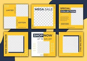 Editable template post for social media ad. Dark blue and yellow background color with stripe line shape. Anyone can use this design easily. Elegant sale and discount promo. Vector illustration