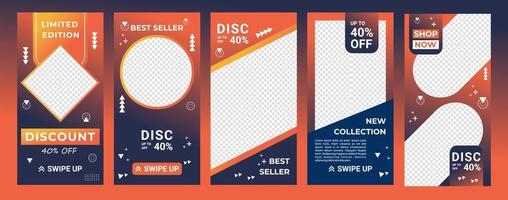Design backgrounds for social media in gradient color orange and navy. Editable template for stories, ig template and web banner ads. Abstract design for your sale product. Vector illustration