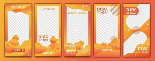 Design backgrounds for social media in gradient color orange and white. Editable template for stories, ig template and web banner ads. Abstract design for your sale product. Vector illustration