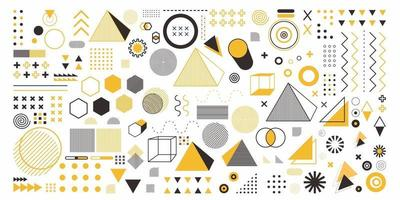 Abstract geometry set object in yellow color. A bundle 100 geometric design arts. Memphis design, retro elements for web, vintage, advertisement, commercial banner, poster, leaflet, billboard, sale vector