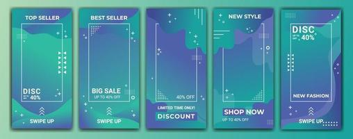 Editable story template collection with wave colored gradient in purple, blue and tosca. Abstract vector illustration for  stories, frame, template, social media, web banner ads.