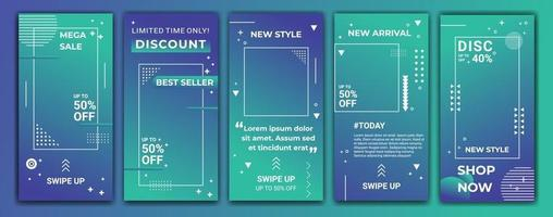 Editable story template collection with wave colored gradient in purple, blue and tosca. Abstract vector illustration for ig stories, ig frame, ig template, social media, web banner ads.