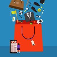 bolsa de compras online vector