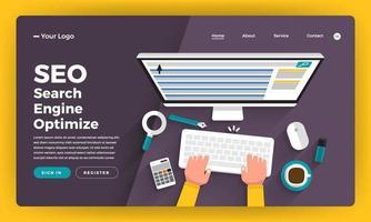 diseño de maqueta concepto de diseño plano de sitio web análisis de seo con gráfico y tabla en el desarrollador del equipo que construye un sitio web de rango en el escritorio. ilustración vectorial. vector