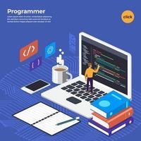 Flat design concept programmer coding program. Vector illustrate.