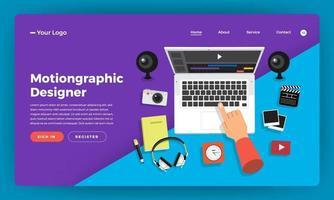 Mock-up design website flat design concept motion graphic video effect designer.  Vector illustration.
