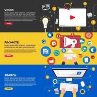 Online Video business banner vector