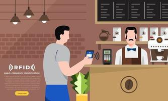 RFID Technology usage in coffee shop vector