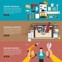 Online tecnicial service banner vector