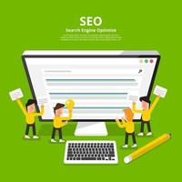 Flat design concept SEO search engine optimize. Vector illustrate.