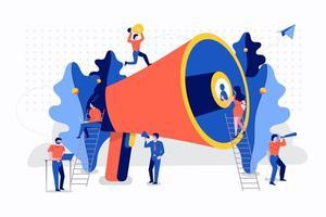 trabajo en equipo publicidad creativa vector
