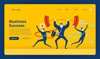 Mock-up design website flat design concept business success people skill.  Vector illustration.