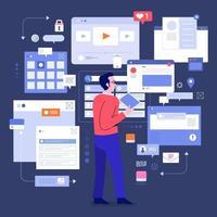 Social media monitor tools vector