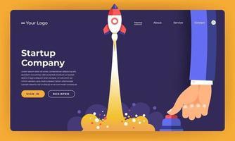 maqueta de diseño de sitio web concepto de diseño plano stratup cohete subida con botón de mano. ilustración vectorial. vector