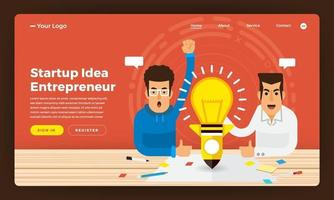 Mock-up design website flat design concept startup idea business present by entrepreneur. Vector illustration.