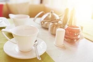 Breakfast or tea time in restaurant photo