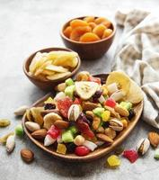 Bowls with various dried fruits and nuts