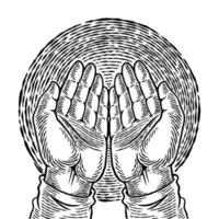 Hand drawn human hand in praying position. Religion conceptual art sketch. The palm of an Islamic praying and a symbol of faith mosque. Simple hands gesture sketch vector illustration.