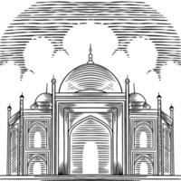 vector de fondo árabe con dibujado a mano hermosa gran mezquita. elementos de diseño de tarjetas de felicitación. religión y cultura árabe, arquitectura árabe. Ramadán, Ilustración de boceto de concepto de Eid Mubarak.