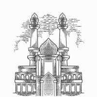 Vector arabic background with hand drawn big mosque. Beautiful greeting card design elements. Arabic religion and culture, arab architecture. Ramadan, prayers kneel, eid mubarak concept sketch.