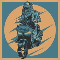Animal moto rider vintage label with aggressive gorilla wearing sunglasses in motorbike. Bestride on mini old retro motorcycle. Vector illustration design for biker lover.  T-shirt prints apparel