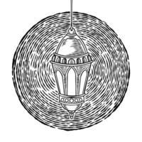Lámpara de queroseno vintage dibujada a mano. Diseño islámico con linterna colgante retro antiguo aislado sobre fondo blanco. ramadan kareem, tema de eid mubarak. Ilustración de linterna de aceite de dibujo vectorial. vector