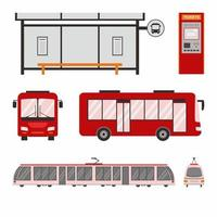 Set of city trolley bus, bus, tram and bus stop. Urban transport colored vector flat icons collection. City transportation and transporter isolated on white background. Public transportation theme