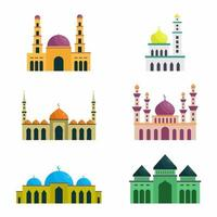 Vector set of islamic mosque. Ramadan Kareem, Happy Eid Mubarak. Hand drawn icons with flat colorful design elements. Modern linear style illustrations isolated on white background.